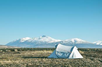 Telt med fjell i bakgrunnen, foto: Pixabay